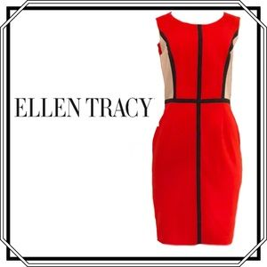 Ellen Tracy Color Block Red Dress